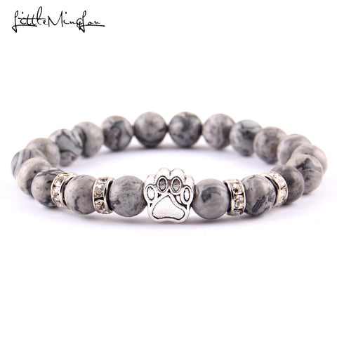 Abbey, Nature Stone Yoga Energy Bead Bracelet With Cats and Dogs Paw, Specialty Jewelry - Abbey Daily Deals - Abbeyshoppingplaza.com Shopify