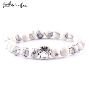 Nature Stone Yoga Energy Bead Bracelet With Cats and Dogs Paw