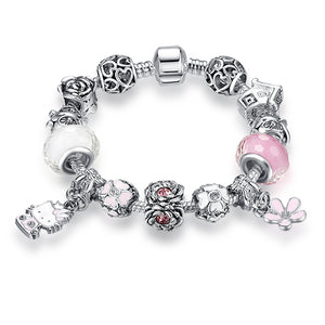 Trendy Charm Bracelets - Glass Bead Bracelets For Ladies and Young Girls