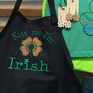 Kiss Me I'm Irish Embroidered Apron - Craftsman and Canvas Style Options