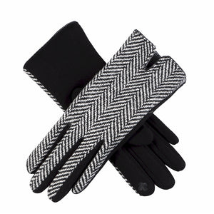 Classic Black and White Herringbone Touchscreen Compatible Gloves