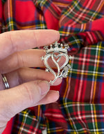 Luckenbooth Scottish Heart Shaped Brooch with Thistle and Crown