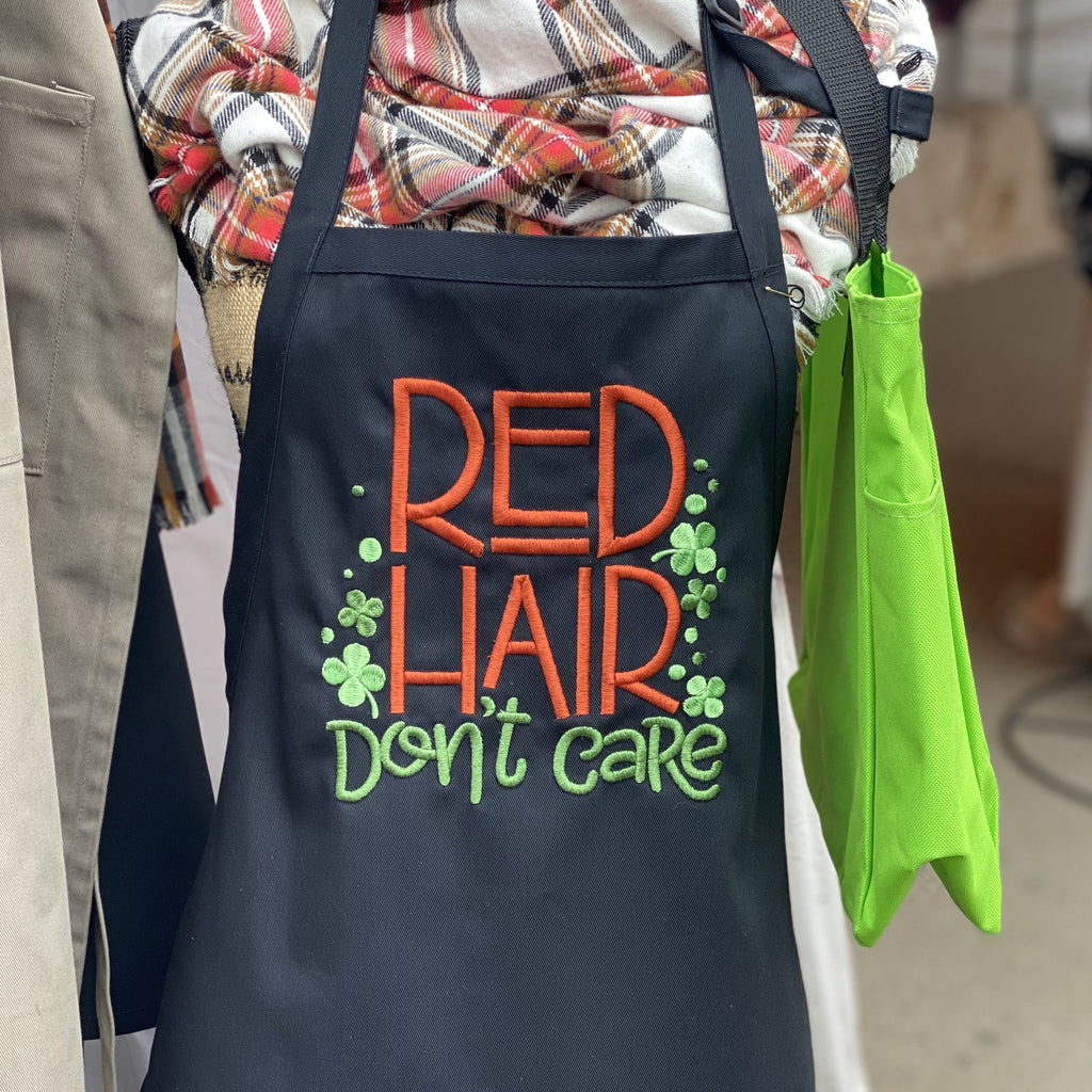 Red Hair Don't Care Embroidered Apron - Craftsman and Canvas Style Options