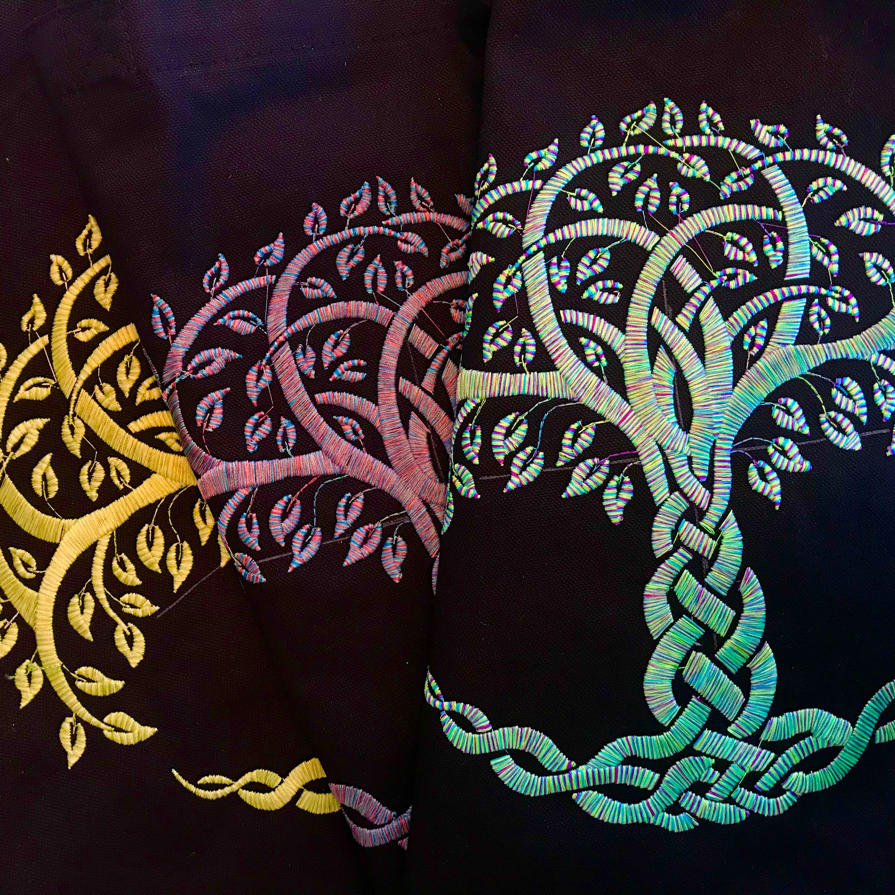 Celtic Knot Tree of Life Embroidered Tote Bag Custom Order Hundreds of Color Combinations