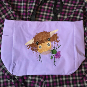 Highland Coo Cute Cow Scottish Thistle Embroidered Tote