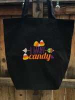I Want Candy Embroidered Trick or Treat Halloween Tote Bag