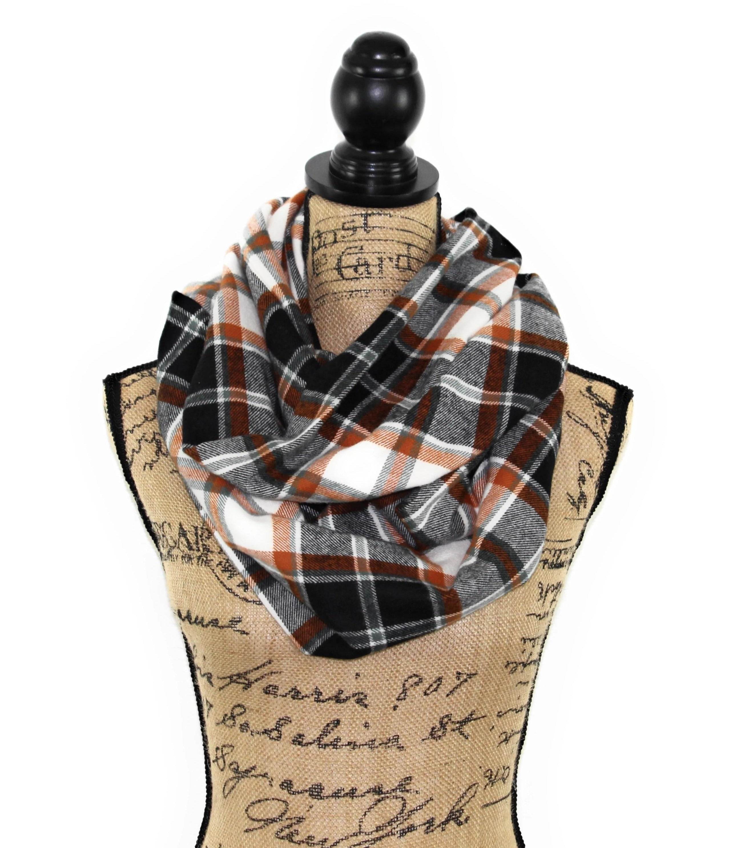 Black, White, Teal-Gray, and Orange Medium Weight Flannel Plaid Infinity or Blank Scarf