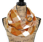 Orange Creamsicle Flannel Plaid Infinity Scarf or Blanket Scarf Block Plaid