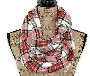 Guava Pink/Orange, Black, Blue, White, and Tan Flannel Plaid Infinity Scarf or Blanket Scarf