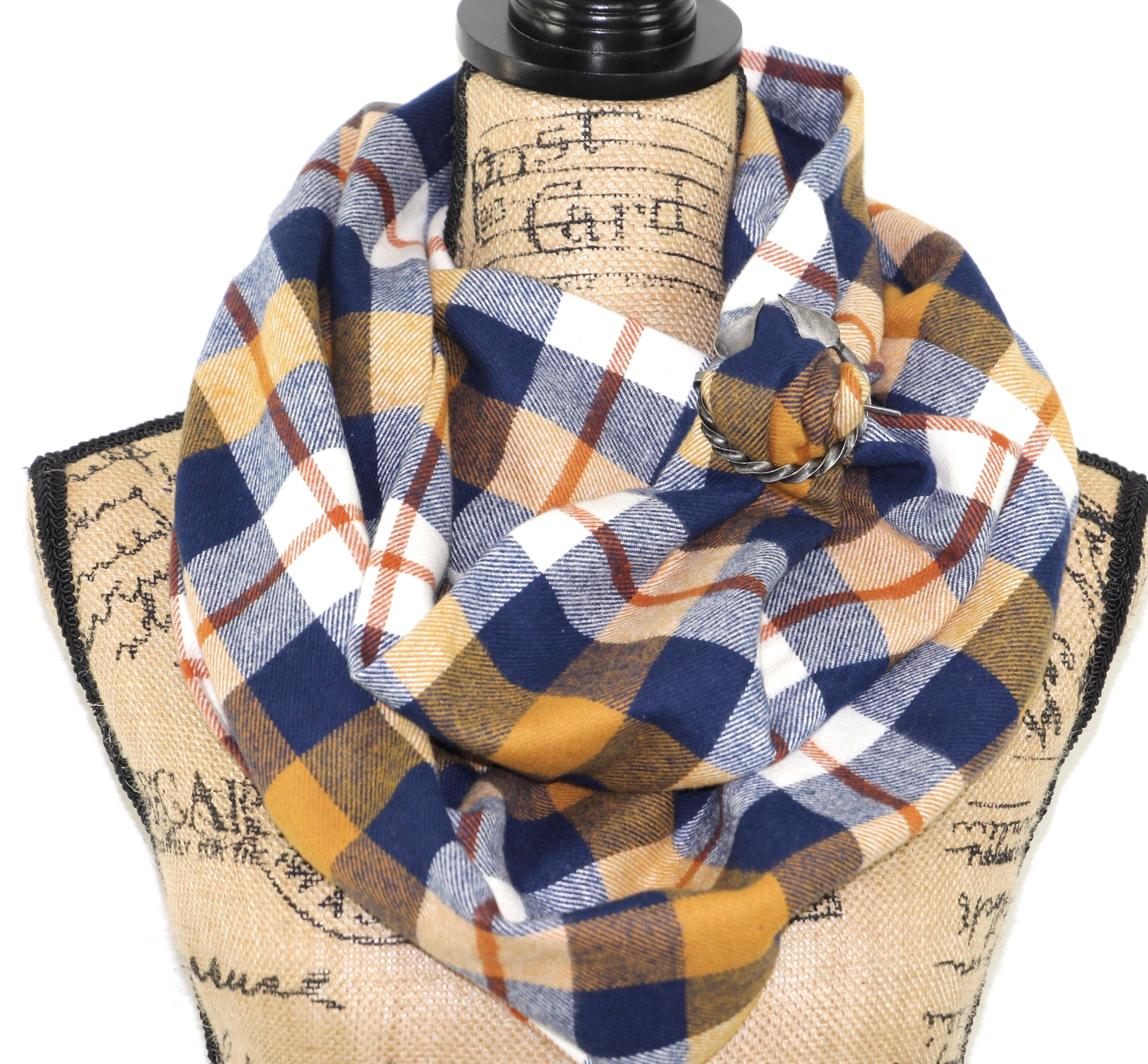 Navy Blue, Mustard Yellow, Burnt Orange, and White Flannel Plaid Infinity or Blanket Scarf
