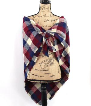 Wine Red, Navy Blue, and Taupe Flannel Plaid Infinity or Blanket Scarf Large Block