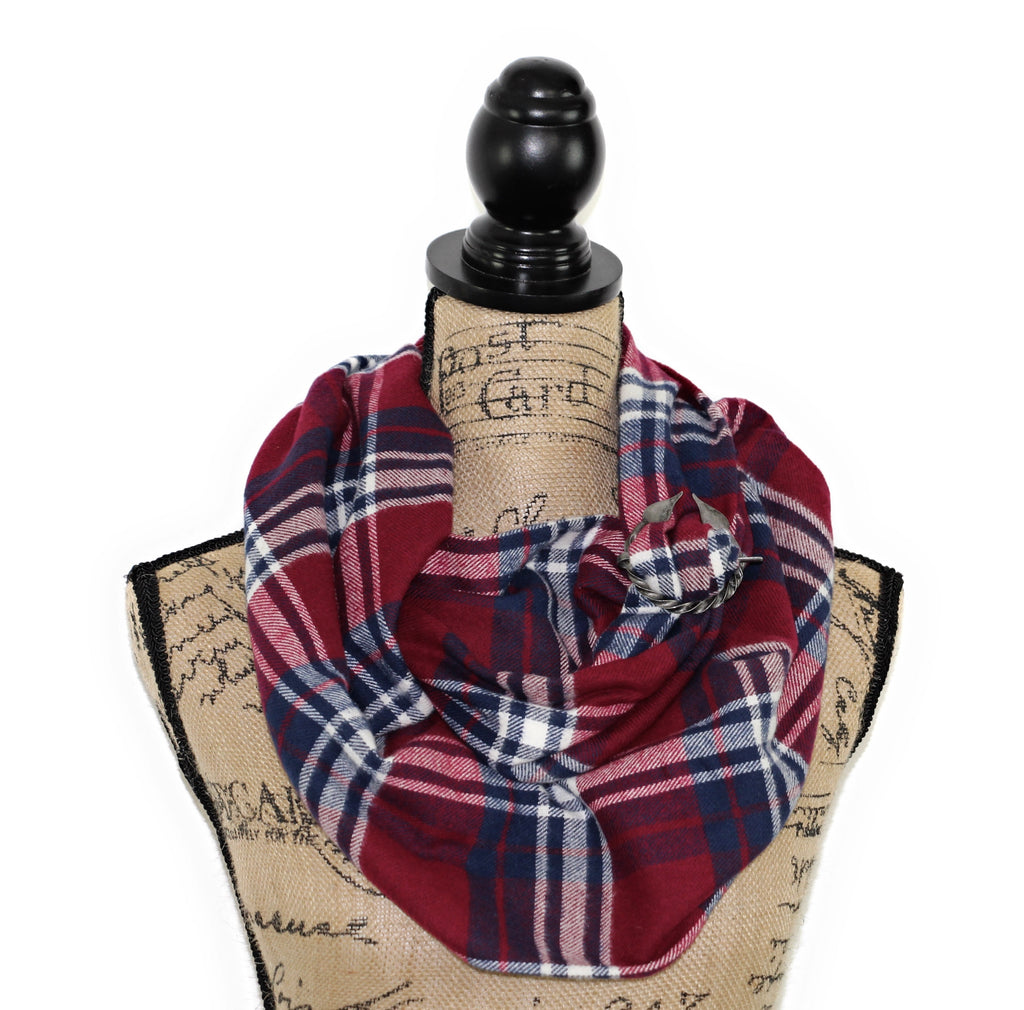 Burgundy Wine Red, Navy Blue, and White Flannel Plaid Infinity or Blanket Scarf Tartan Wrap