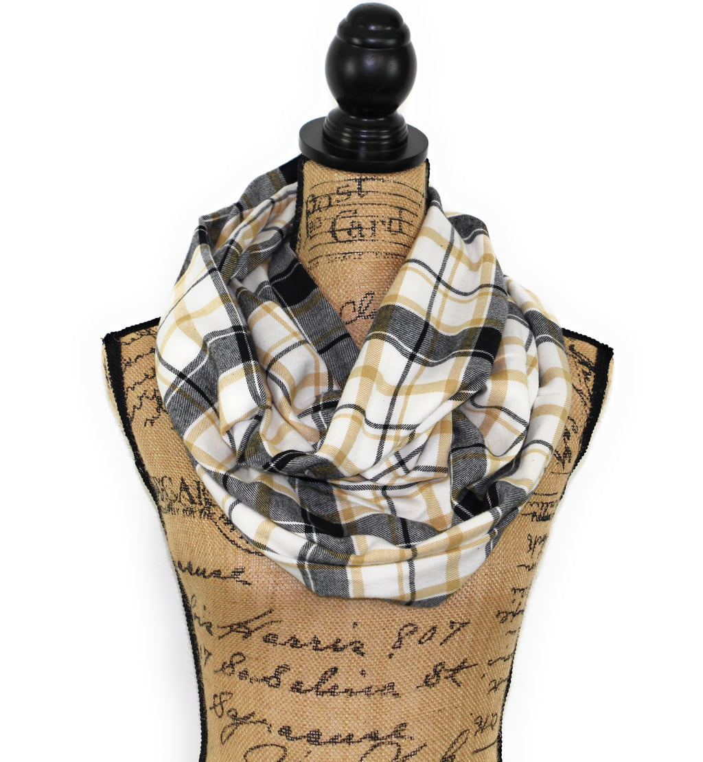 White, Black, and Tan Lightweight Flannel Plaid Infinity or Blanket Scarf Tartan Wrap