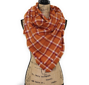 Orange, Raspberry, Light Pink, and White Lightweight Flannel Plaid Infinity or Blanket Scarf