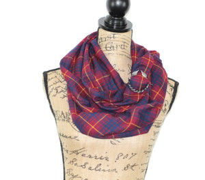 Wine Red, Navy Blue, and Sunflower Yellow Lightweight Flannel Plaid Infinity or Blanket Scarf