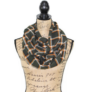 Dark Olive Green/Brown, Orange, and Cream Lightweight Flannel Plaid Infinity or Blanket Scarf