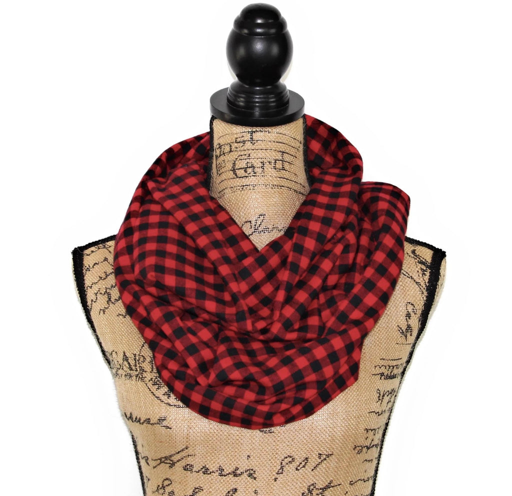 Buffalo Plaid Red and Black Gingham Small Check Lightweight Flannel Plaid Infinity or Blanket Scarf