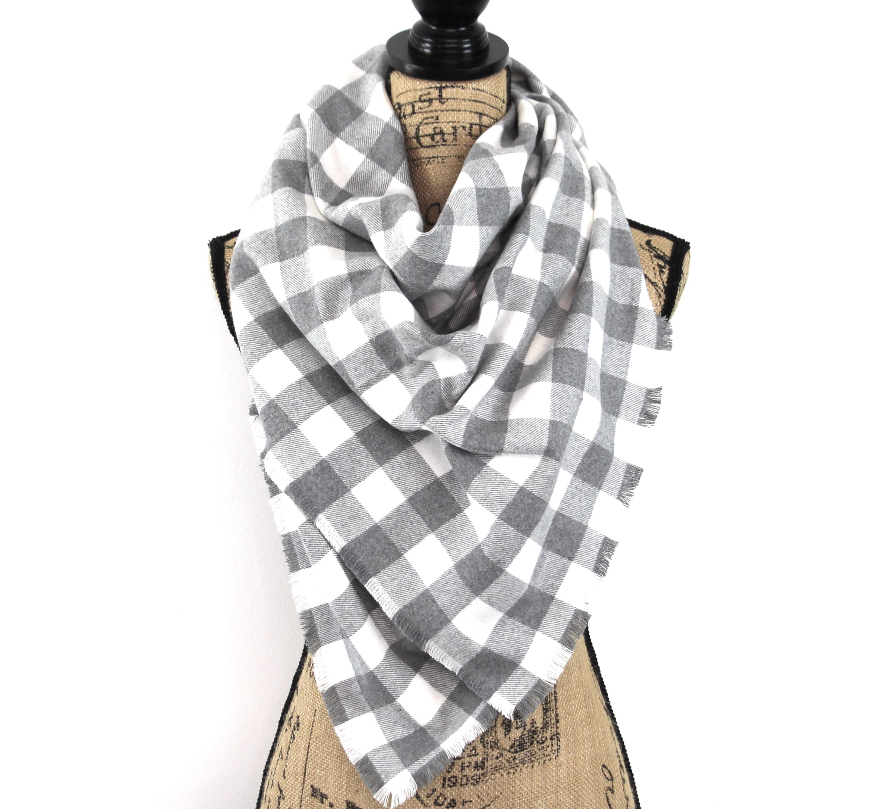 Gray and White Buffalo Plaid Flannel Plaid Infinity or Blanket Scarf
