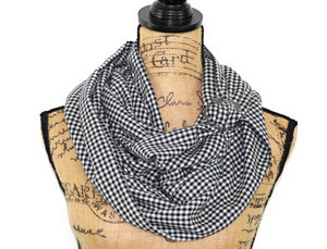 Black and White Gingham Lightweight Flannel Plaid Infinity or Blanket Scarf
