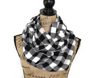 Shepherds Plaid Classic Black and White Buffalo Plaid Flannel Infinity or Blanket Scarf Gingham Check