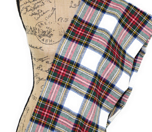 Dress Stewart Tartan White, Red, Yellow, Blue, Green Flannel Plaid Infinity or Blanket Scarf