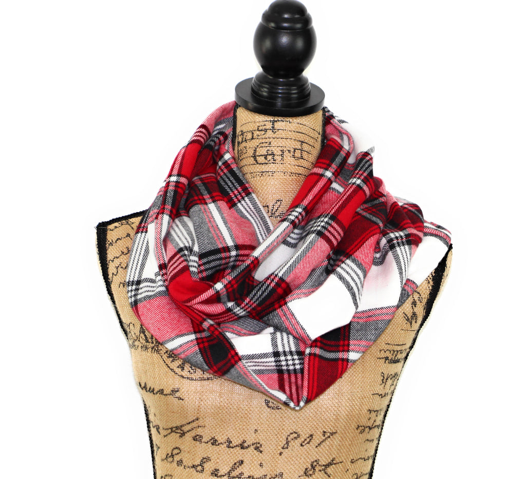 Red, Black, and White Flannel Plaid Infinity or Blanket Scarf