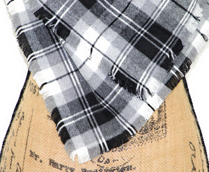Gray, Black, and White Flannel Plaid Infinity or Blanket Scarf
