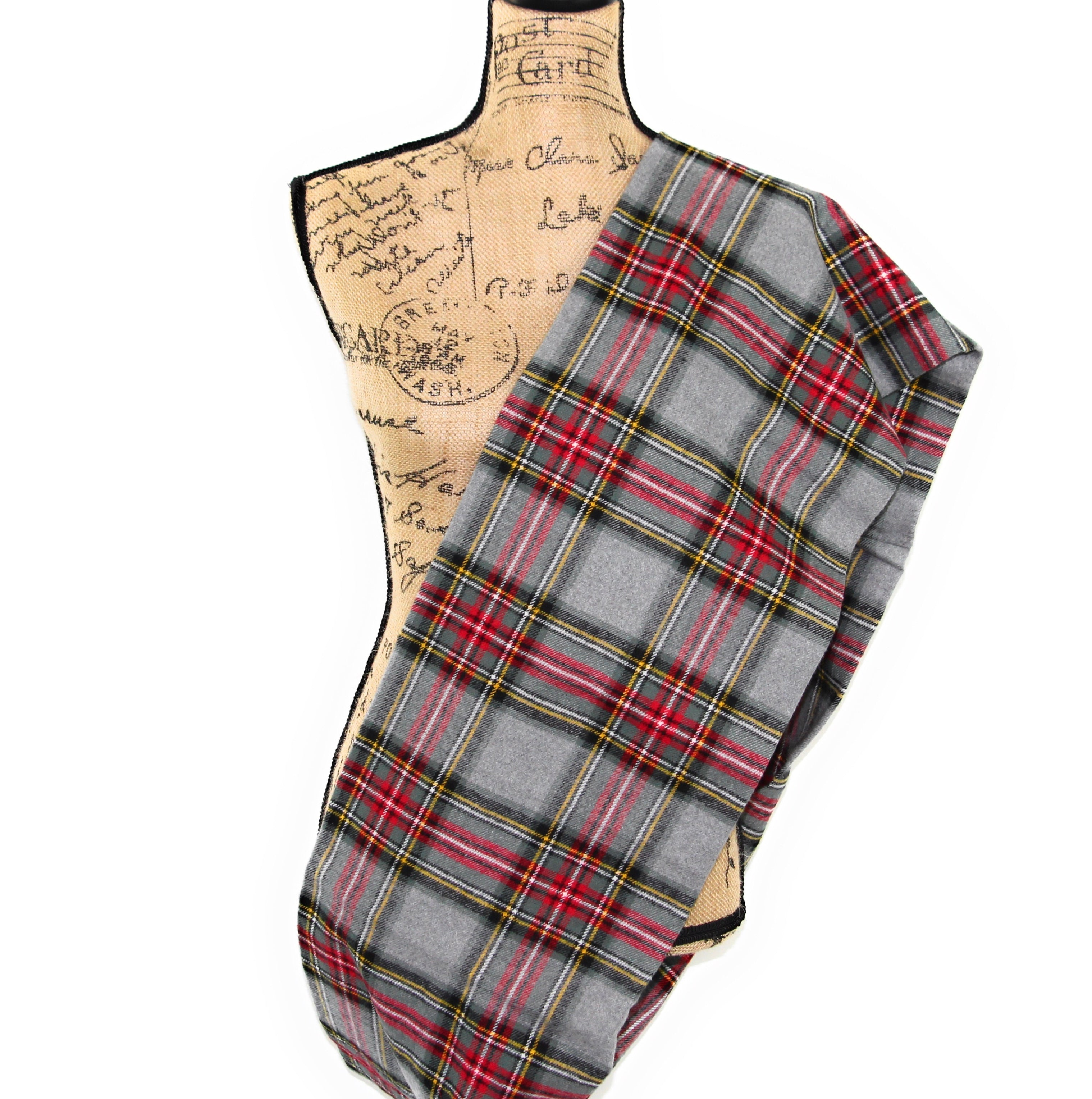 Stewart Tartan in Heather Gray with Sage Green and Red Flannel Plaid Infinity or Blanket Scarf