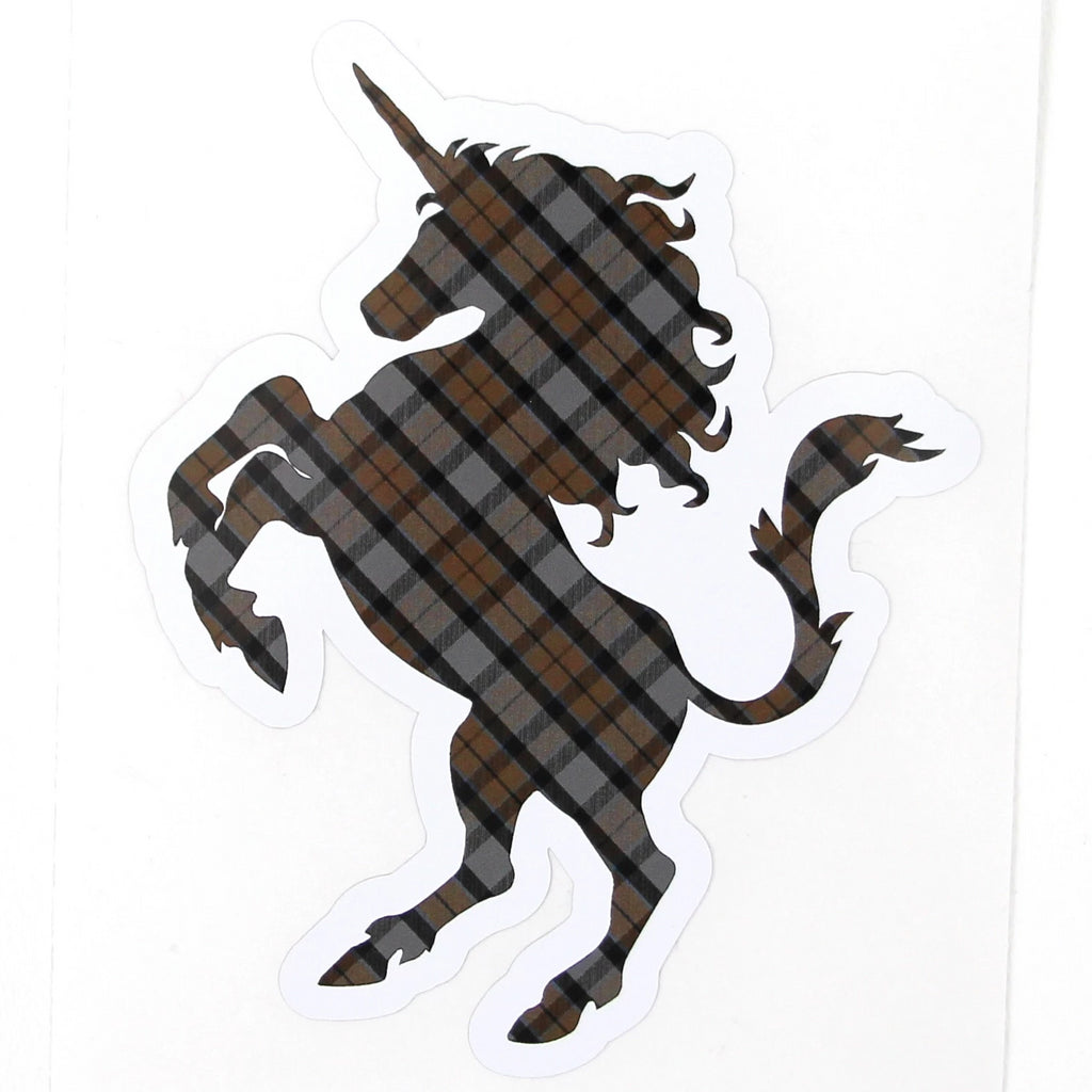 Outlander Clan MacKenzie Tartan Brown and Gray Plaid Unicorn Sticker