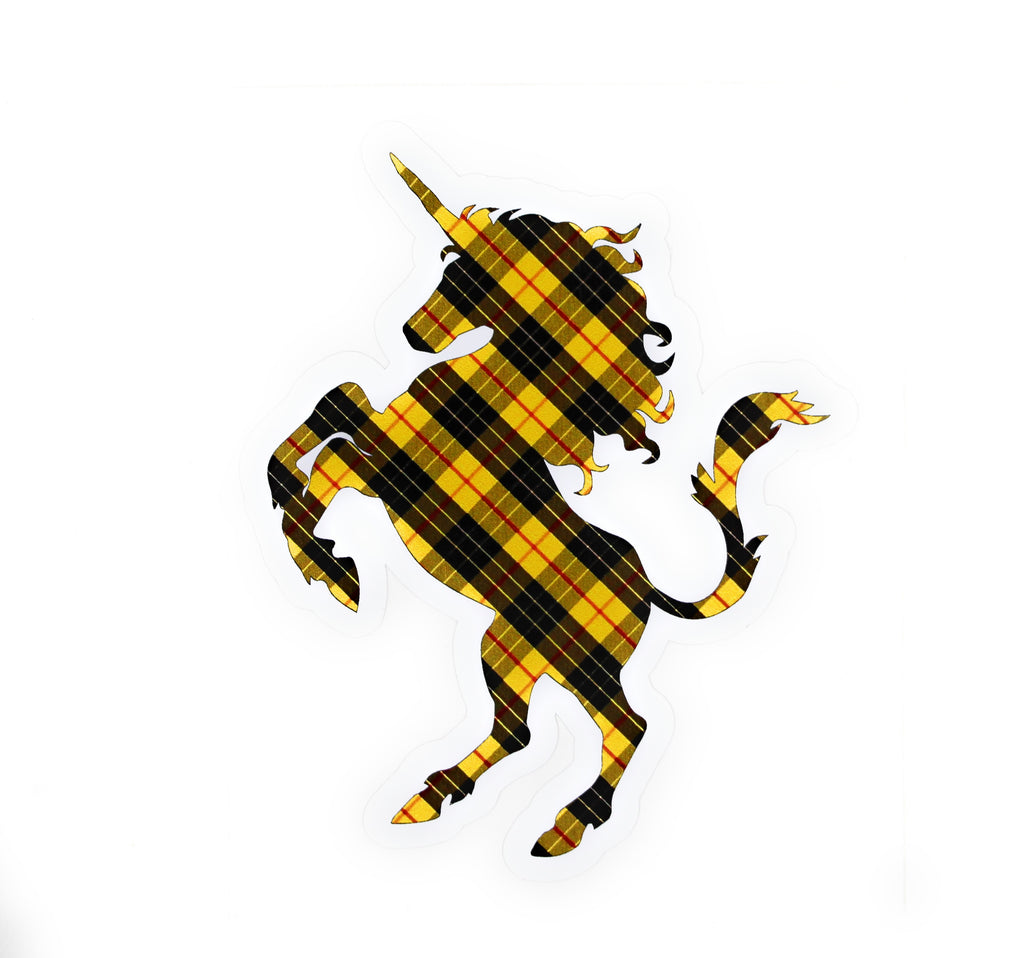 Clan MacLeod Tartan Yellow, Black, and Red Plaid Unicorn Sticker