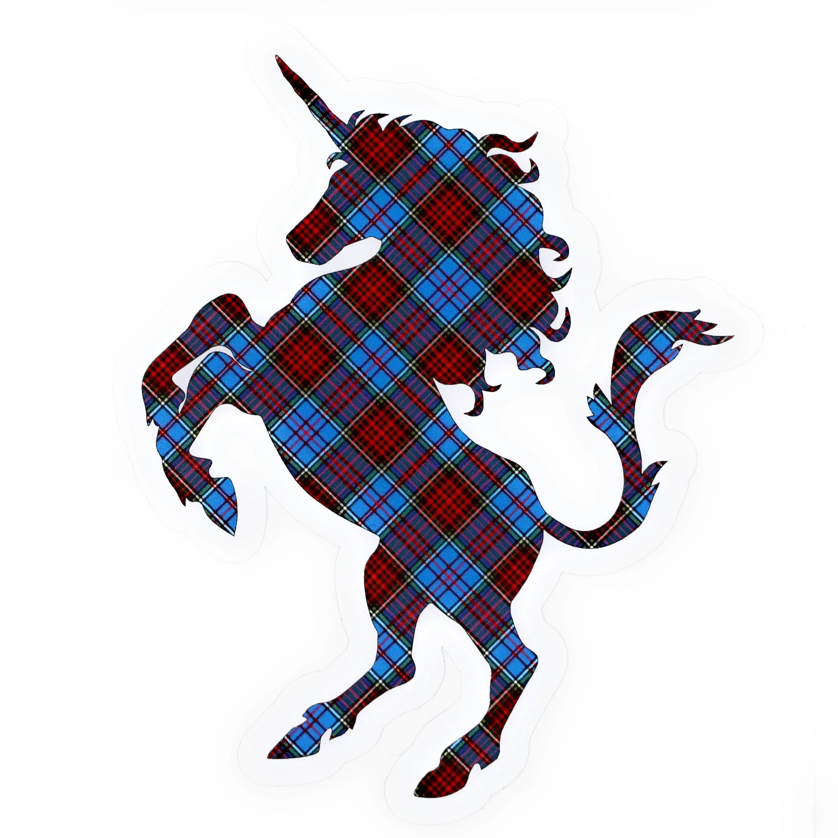 Clan Anderson Tartan Blue, Red, and Yellow Plaid Unicorn Sticker