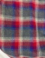 NEW Heather Gray with White, Red, and Blue Ombre Plaid Medium Weight Flannel Scarf