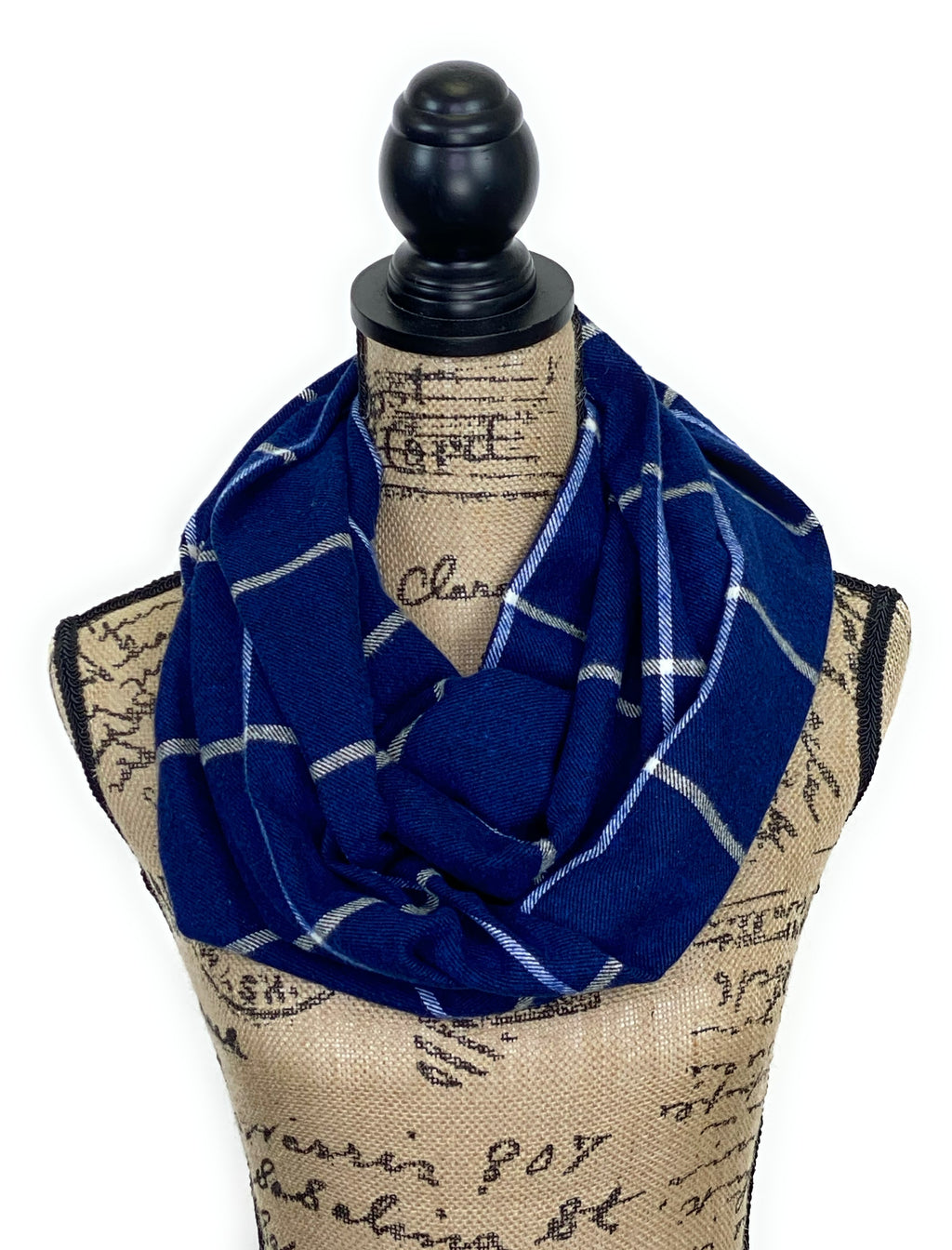 Blue with Black Weave and White Stripe Medium Weight Flannel Plaid Scarf