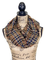 Stewart Variation with Brown, Red, White, Yellow, Blue, and Black Medium Weight Flannel Plaid Scarf