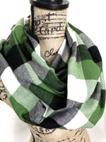 Apple Green, White and Black Black Plaid Medium Weight Flannel Scarf