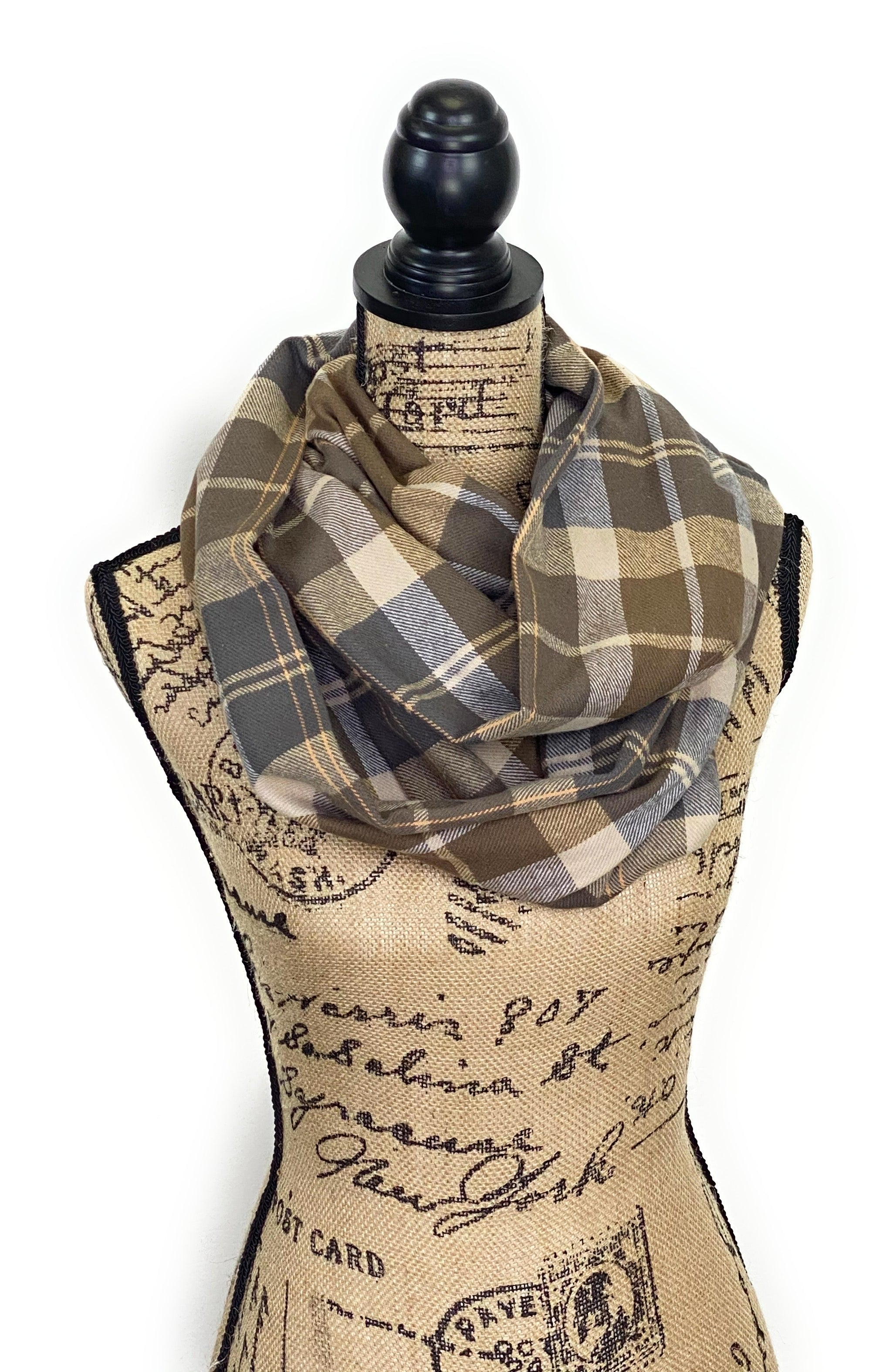NEW Earthy Gray, Tan, Cream, and Gray Medium Weight Flannel Plaid Scarf