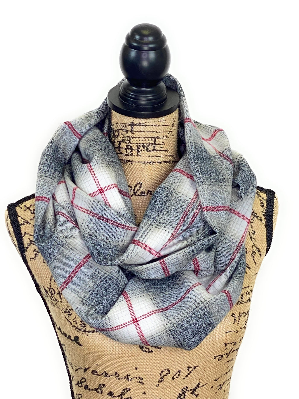 NEW Heather Gray with Light Tan Ombre, White and Red Plaid Medium Weight Flannel Scarf