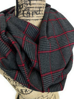 Dark Gray, Black, and Red Houndstooth Plaid Medium Weight Flannel Scarf