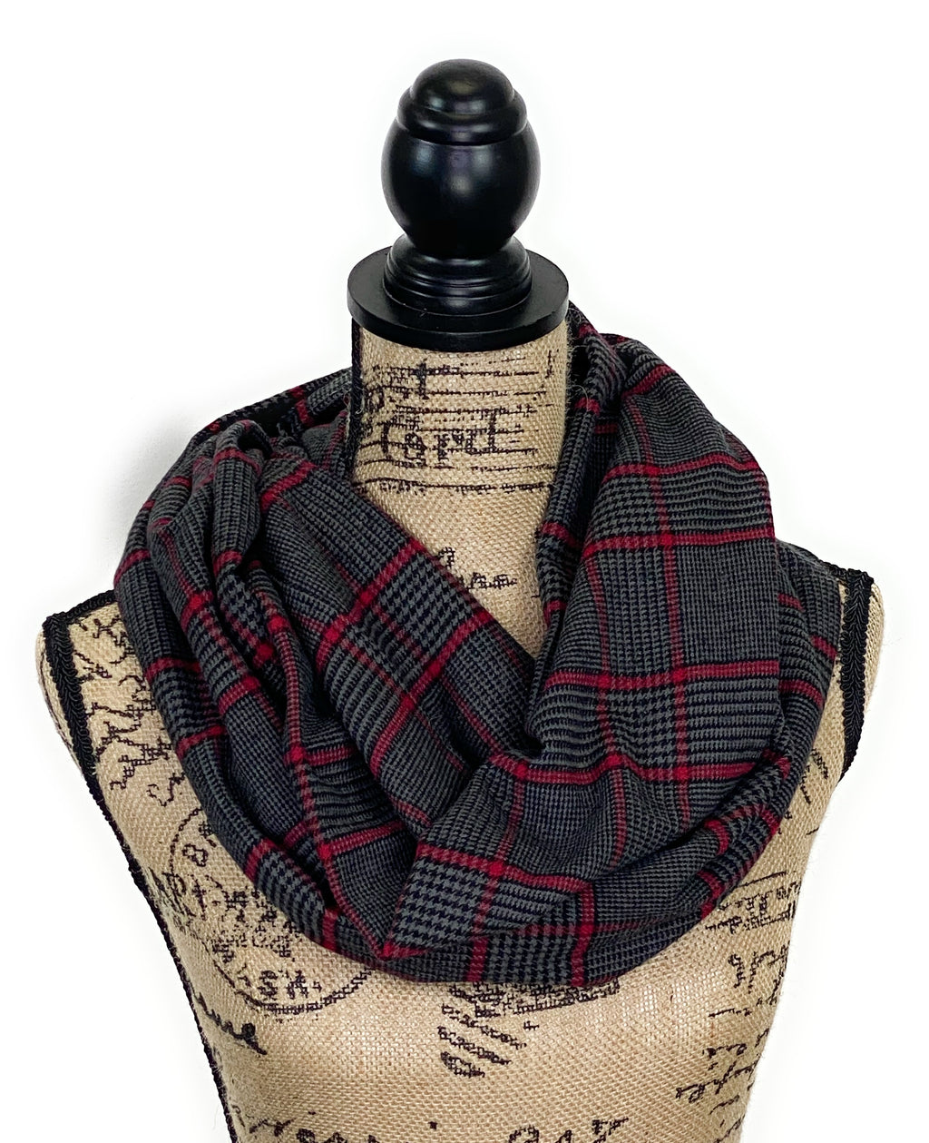 NEW Dark Gray, Black, and Red Houndstooth Plaid Medium Weight Flannel Scarf