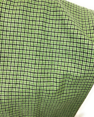 Light Green, Apple Green, and Black Houndstooth Plaid Medium Weight Flannel Scarf
