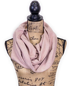 Blush Pink/Dusty Rose and Cream/Ivory Herringbone Medium Weight Flannel Scarf