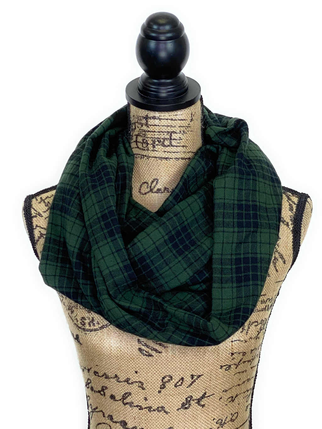 NEW Deep Army/Olive Green and Black Light Weight Flannel Scarf