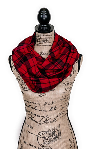 Classic Red and Black Plaid Medium Weight Flannel Scarf