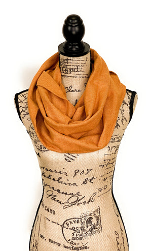 Pumpkin Orange and Sunflower/Mustard Yellow Herringbone Medium Weight Flannel Scarf