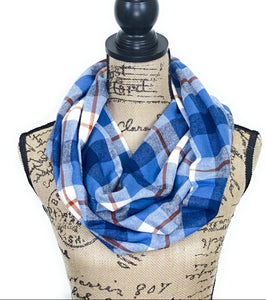 Cornflower Blues, Navy, White, and Burnt Orange Medium Weight Flannel Scarf
