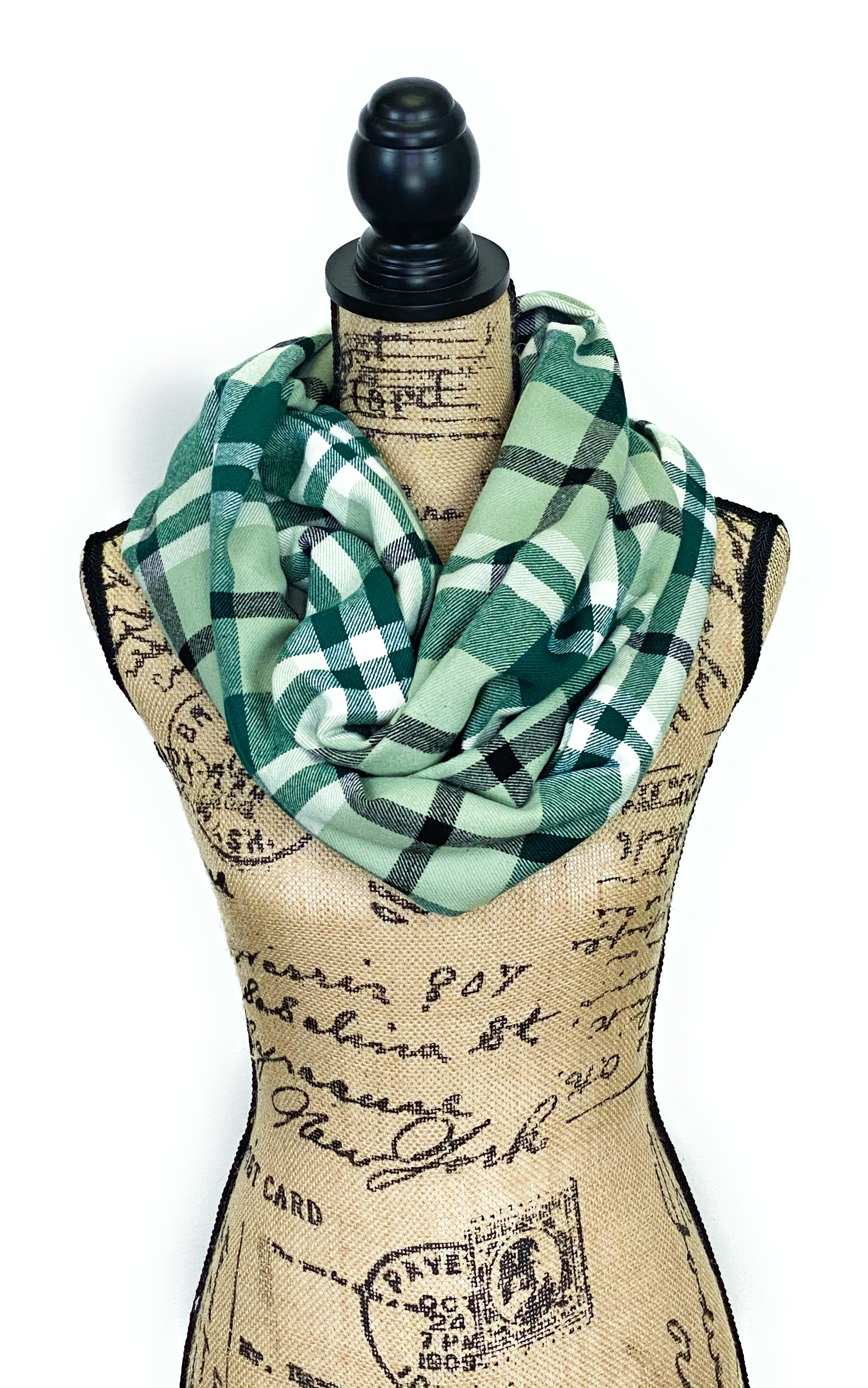 Light Eucalyptus Green, Dark Green, White, and Black Plaid Medium Weight Flannel Scarf