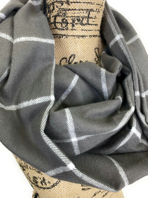 Smokey Gray and White Medium Weight Flannel Windowpane Plaid Scarf