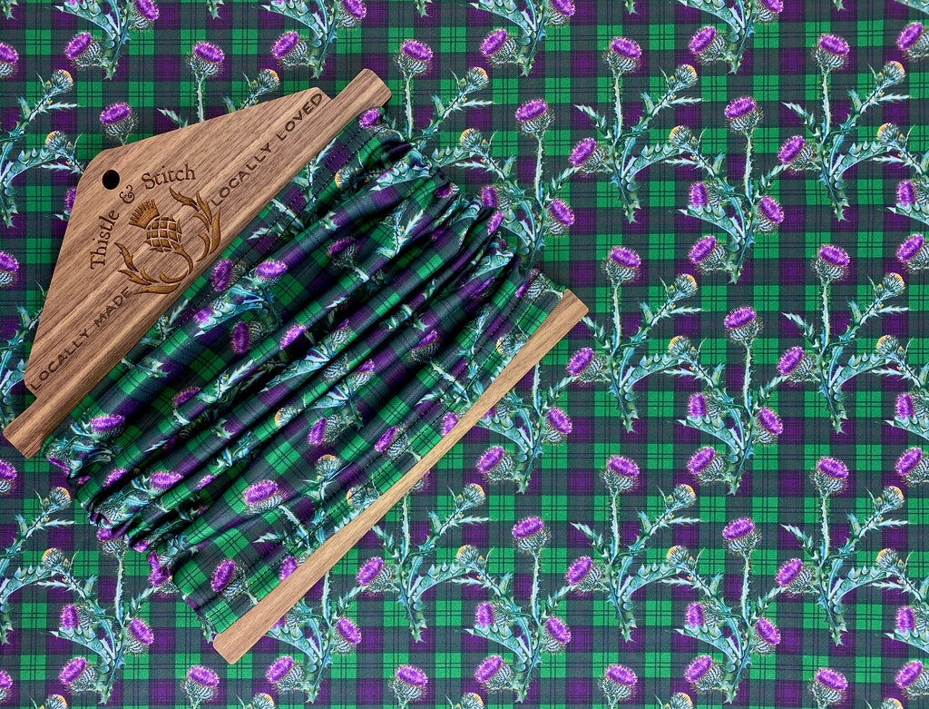 Scottish Thistle on a Purple and Green Tartan Neck Gaiter/Face Covering