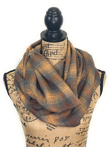 Earthy Browns and Black Ombre Plaid Medium Weight Flannel Scarf
