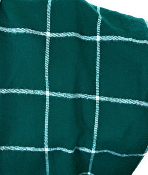 Classic and Simple Green and White Windowpane Plaid Medium Weight Flannel Scarf